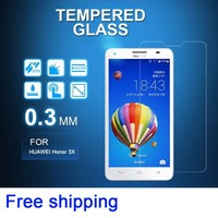 0.3mm Tempered glass screen protector film High Quality for Huawei Honor 3X G750 Ascend  with retail package free shipping