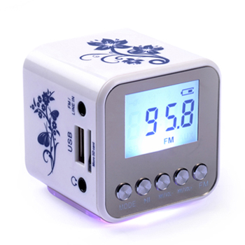 HOT sales Portable USB mini speaker with FM radio support TF card usb disk LED flash light mp3 audio music player mini speakers(China (Mainland))