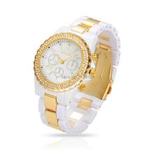 Mujeres cuarzo relojes de lujo marca Rhinestone relojes de moda Unisex horas Reloj Casual Relogio Feminino Reloj negro / blanco