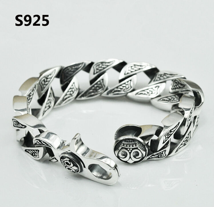 men jewelry 100 real pure 925 sterling silver bracelet