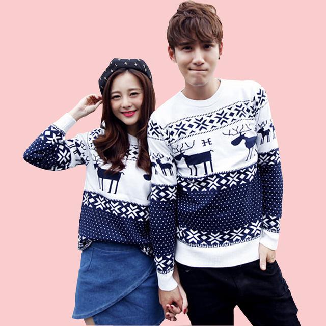 2015 Valentine's Gift Couple свитерs, Men/ Женщины Christmas свитерs О-образным ...
