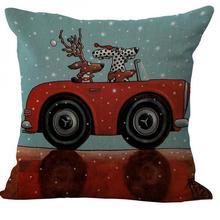 Christmas Series Dog Cotton Linen Kids Throw Pillow