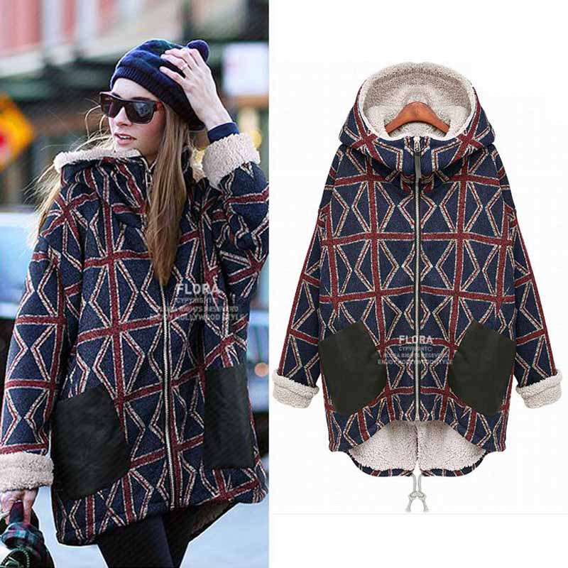 Best Selling Female long Plus Size 5XL Velvet Thickening Warm Sweatshirt Hoodie Women Printed Plaid Hooded Hoodies For FemaleОдежда и ак�е��уары<br><br><br>Aliexpress