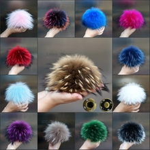 15-16cm Multicolor 100% Real Raccoon Mink Fox Fur Ball 20 Colorful Fur Winter Pom Poms For Shoes Bag Hat Fur Cap Accessories(China (Mainland))