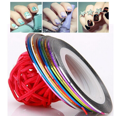 10Pcs 10 Multicolor Mixed Colors Rolls Striping Tape Line Nail Art Decoration Sticker DIY Nail Tips manicure Hot Worldwide(China (Mainland))