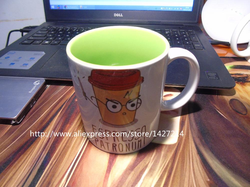 ESPRESSO PATRONUM harry potter inner green morphing coffee mugs morph mug novelty heat changing color transforming Tea Cups(China (Mainland))