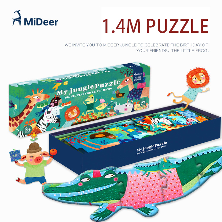 Mideer 140*21CM 27Pcs/Set High Quality Big Wooden Puzzle My Jungle Puzzle Aesthetic Puzzle For Children Birthday Gift(China (Mainland))
