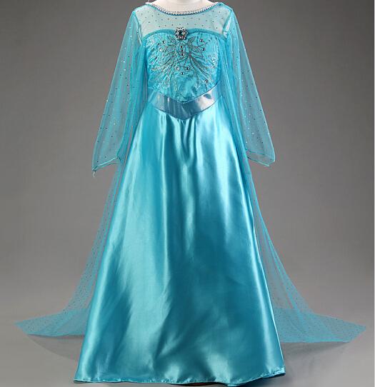 1pcs Sample girls dress Children girl half sleeve Elsa dress 2015 girls princess blue dress D003<br><br>Aliexpress