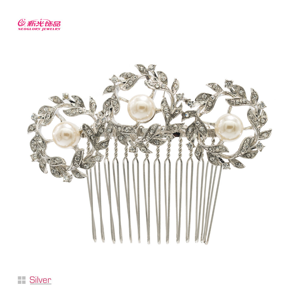 Pearl Hair Pins Comb for Bridal Clear Rhinestone Crystal Round Flower Wedding Bridal Hair Accessories Brand Free Shipping CO1452(China (Mainland))