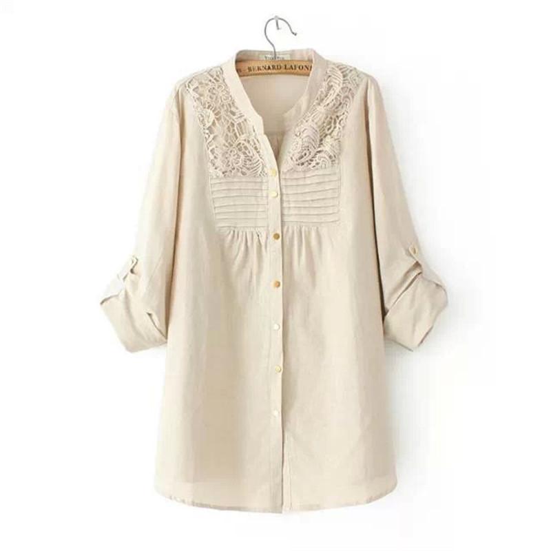 Plus size women blouses spring models long sleeved v neck for Long linen shirts for womens