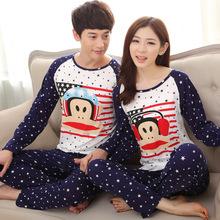 Free new cartoon sleepwear lovers round neck milk silk pajamas Couple pajamas sets long -sleeved thin models male tracksuit(China (Mainland))
