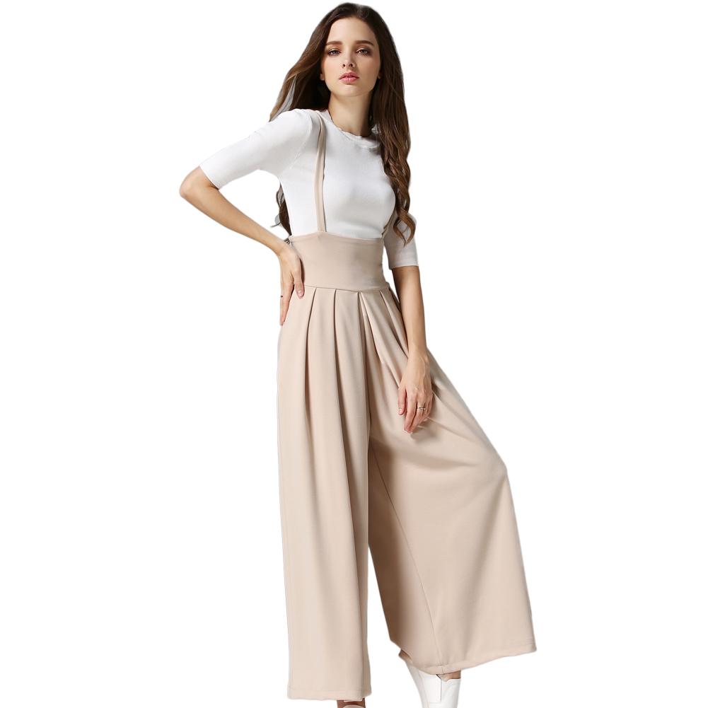 2016 Women Trousers Loose Long Culottes Wide Leg High Waist Pockets Strap Pants Black/Grey/Beige pantalones mujer(China (Mainland))