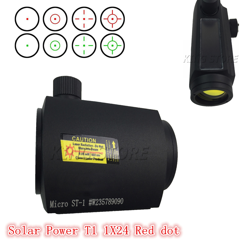 Tactical Hunting Reflex Sight Solar Power System T1 / T-1 Red Dot Sight Military Hunting T1/1*24 Holographic Sight(China (Mainland))