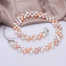 3 row natural freshwater choker multilayer pearl necklaces women,real pearl necklace wedding bridesmaid collar mom birthday gift(China (Mainland))
