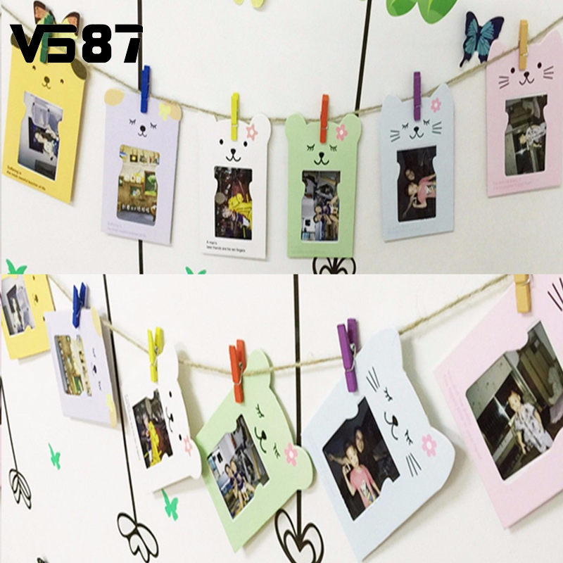 Cute 6Pcs/Set 3' Paper Cartoon Hanging Album With Clips Rope DIY Wall Hanging Picture Photo Frame Display Home Decor(China (Mainland))