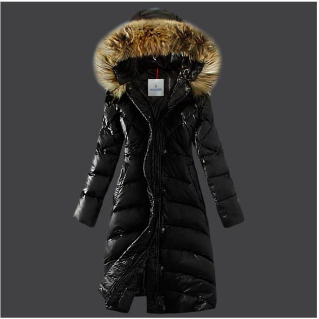Зимние пуховики 2014 высокого качества бренда женщин теплый Slim большой меховой воротник гуся вниз куртки черный Леди длинные вниз пальто wt109