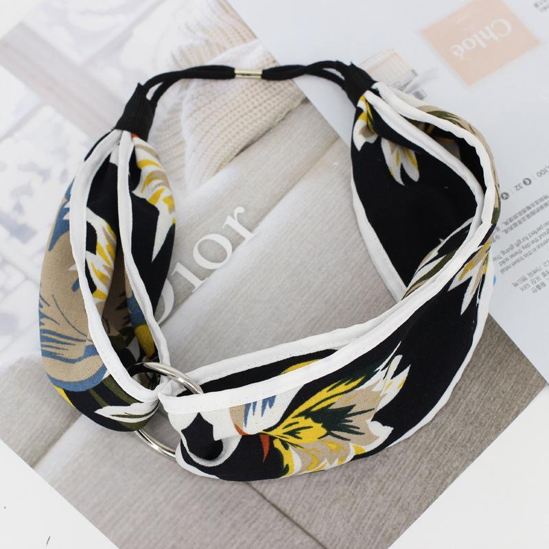 MENG Flower Elastic Hair Accessories Women Leaves Hair Ornaments Girl Striped Headband Iron Circle Cross Headwear H16066(China (Mainland))
