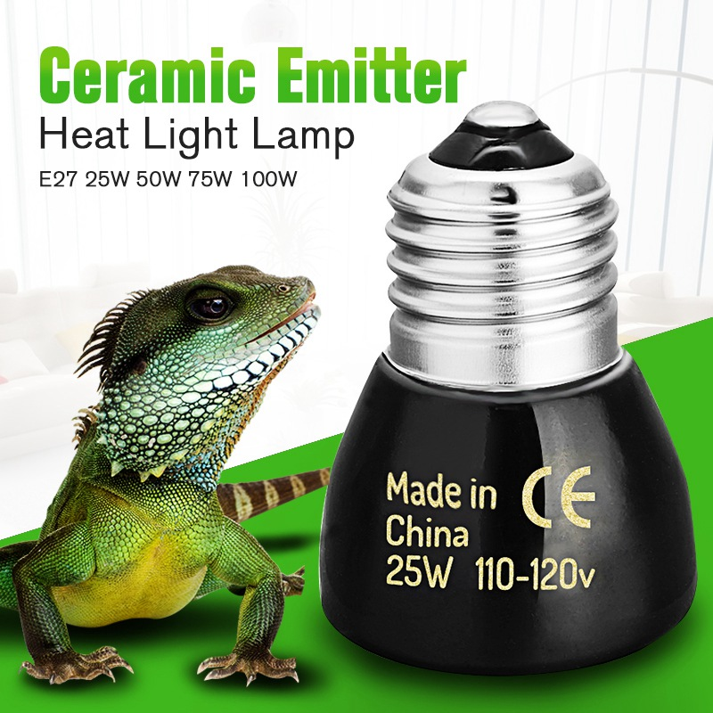 Best Price Black E27 25W 50W 75W 100W Mini Infrared Ceramic Emitter Heat Light Lamp Bulb For Reptile Pet Brooder 110V/220V(China (Mainland))