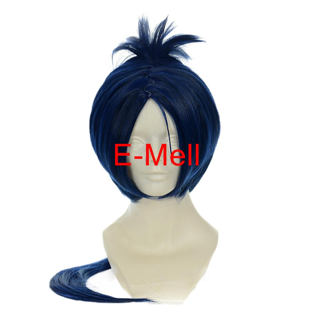 21.6inch/ 55cm Cospaly Hitman Reborn ten years later Rokudou mukuro парик Short straight hair High Temperature Deep blue Hair 245A