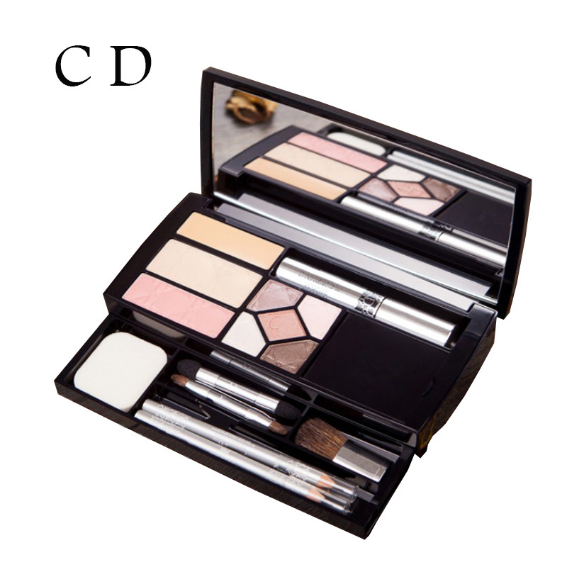 Free Shipping Limited Edition Travel Makeup Set Eyeshadow Palette Blush Lip Gloss Glitter Powder Concealer Eye Pencil + Brush(China (Mainland))
