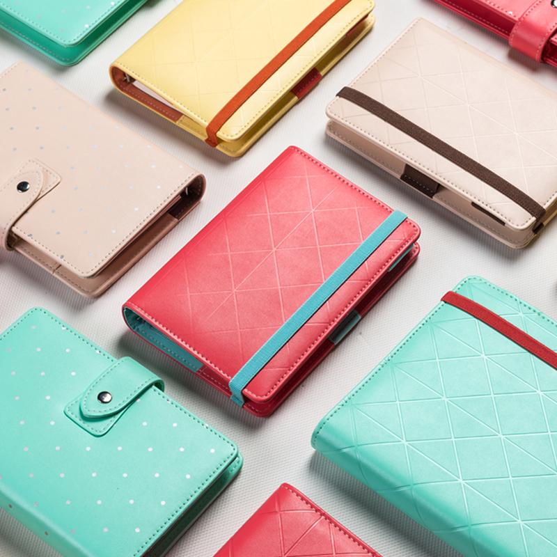 Original cute diamond lattice leather spiral notebook,candy high quality agenda planner organizer,office School stationery A5 A6(China (Mainland))