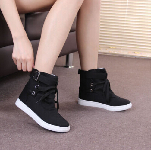 Fashion High sneakers for women canvas shoes flats ankle boots casual Single shoes autumn boots wholesale price free shipping(China (Mainland))