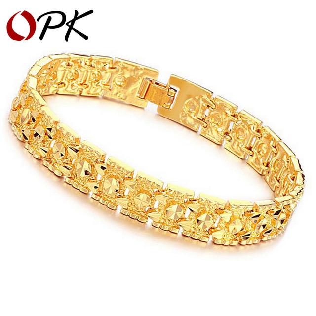 OPK JEWELLERY Luxury 18K Gold plated bracelet brand new design width 11mm infinity Bracelet & bangle Fashion FREE SHIPPING 160
