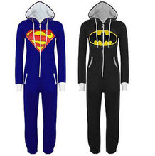 Unisex Adult Onesie Kigurumi Pajamas Batman Superman Costume Cosplay Sleepwear Halloween(China (Mainland))