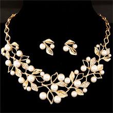 אלגנטי סימולציה פרל כלה תכשיטי סטי תכשיטי חתונה עלה גביש זהב כסף צבע שרשראות עגילי סטי נשים(China)