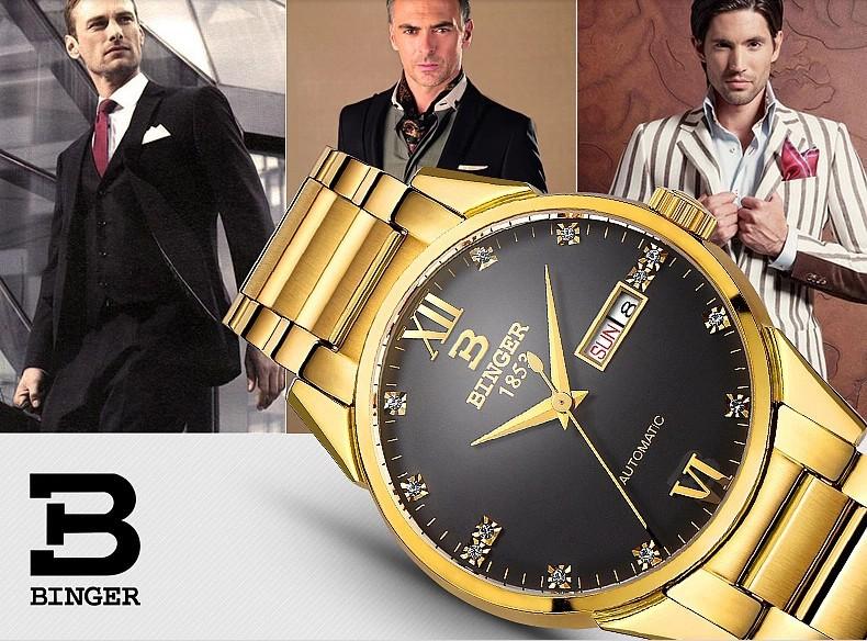 Бингер Автоматические часы Класса Люкс Geniune Мужчины часы 2016 Новая Мода Супер Тонкий Platimum Джентльмен Наручные Часы