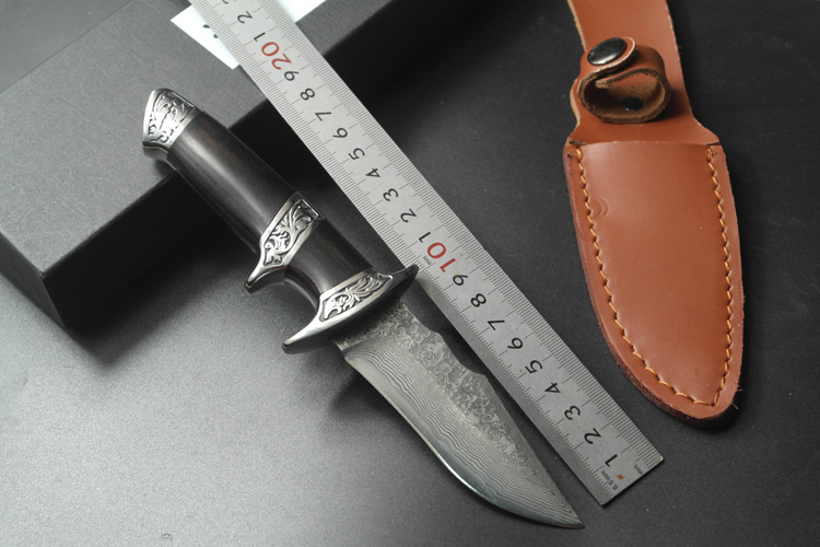 Buy Luxury Handmade Damascus Steel Tactical Hunting Knife Fixed Blade 58HRC Collection Gift Outdoor Survival cheap