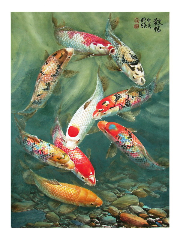 Modern sitting wall decor print animal oil painting feng for Koi fish wall decor