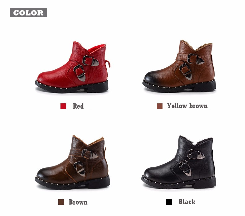 2016 Winter Warm Children Martin Boot High quality Genuine Leather Boots girls Waterproof thickened kids girls shoes boys boots