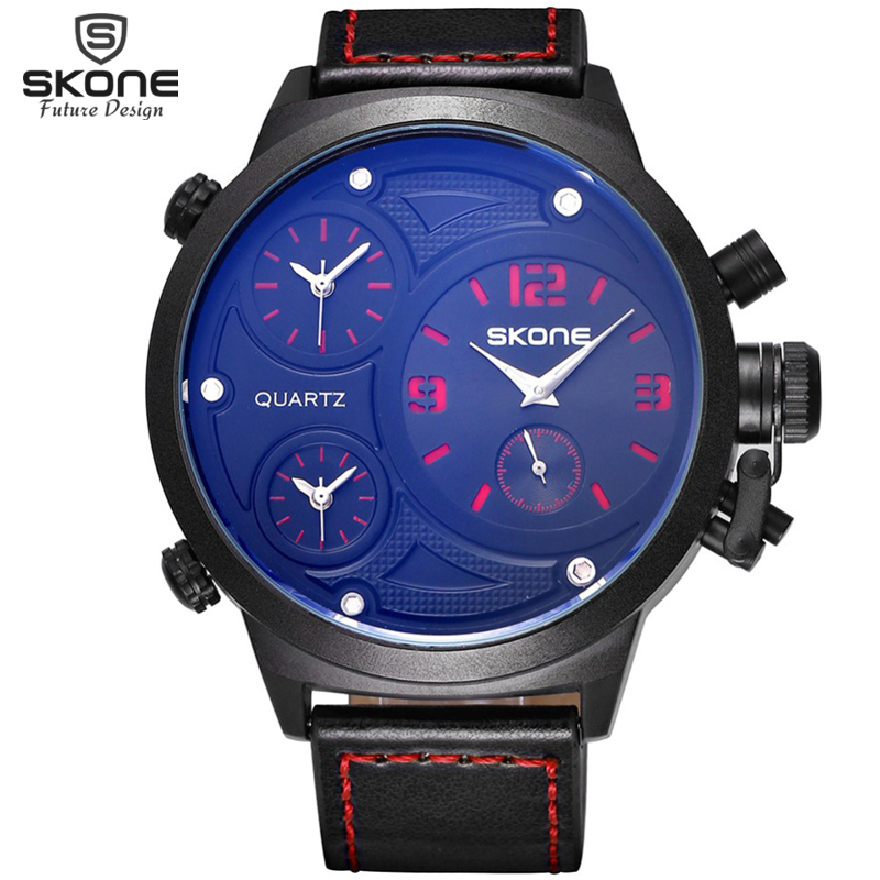 SKONE Big Round Face 3 Time Zone Analog Quartz PU Leather Watches Men Fashion Casual Sports Army Military Wrist Watch 2016 New(Hong Kong)
