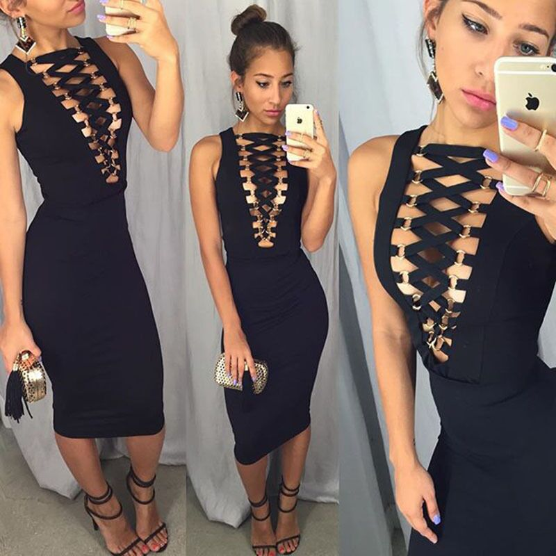 Fashion Vestidos 2016 Summer Women Sexy Casual Dress Sleeveless Deep V Neck Hollow Out Lace-UP Mid-Calf Maxi Dress Plus Size M60(China (Mainland))