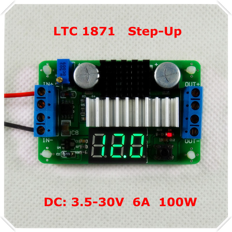 Boost converter LTC1871 DC-DC Adjustable Step-Up High Power Supply Module Green LED Voltage meter/ Button Switch [3 piece/lot](China (Mainland))