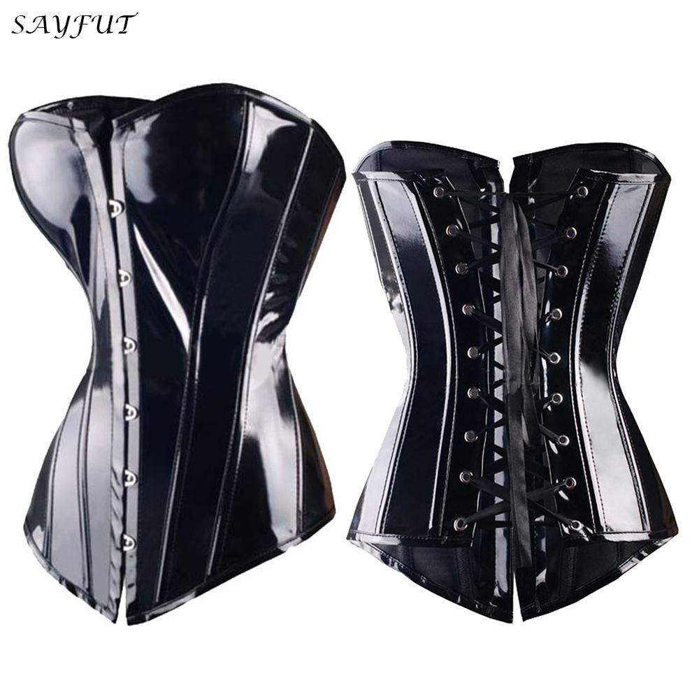 X Sexy Black Steampunk Faux leather/PVC Lace up BONED Gothic Corsets and Bustiers Sexy Lingerie Slimming Shaper top Size S-2/6XL(China (Mainland))