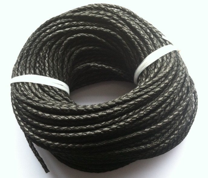 High quality 4 strands black 4mm braided geunine leather cord round 50meters/lot Free Shipping