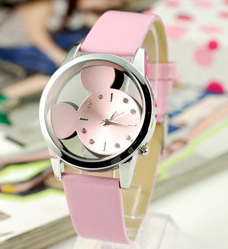 Fashion simple temperament girl/student cute Cartoon Mouse hollow out a undertakes to quartz watch straps children table(China (Mainland))