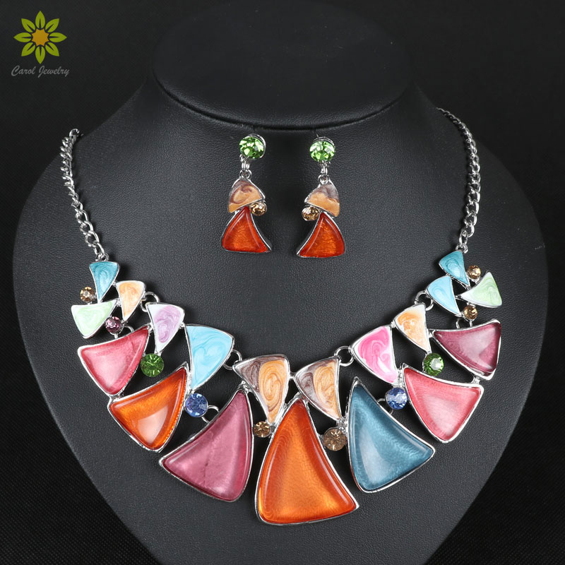 Hot Sale Jewelry Sets Silver Collar Enamel Resin Beads Clear Crystal Top Elegant Party Gift Bridal Jewelry(China (Mainland))