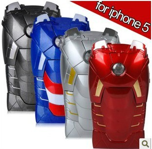 3D Avengers Iron Man Mark VII Hard Case Cover Protective Armor With LED Flash For iPhone 5 5G,4 color,+ 1pc screen protectors.(China (Mainland))