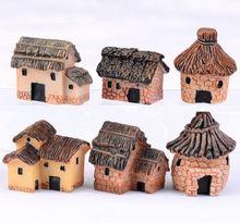 FD2203 New Thatched Cottage Miniature Dollouse Garden Craft Fairy Bonsai Decor 1pc(China (Mainland))