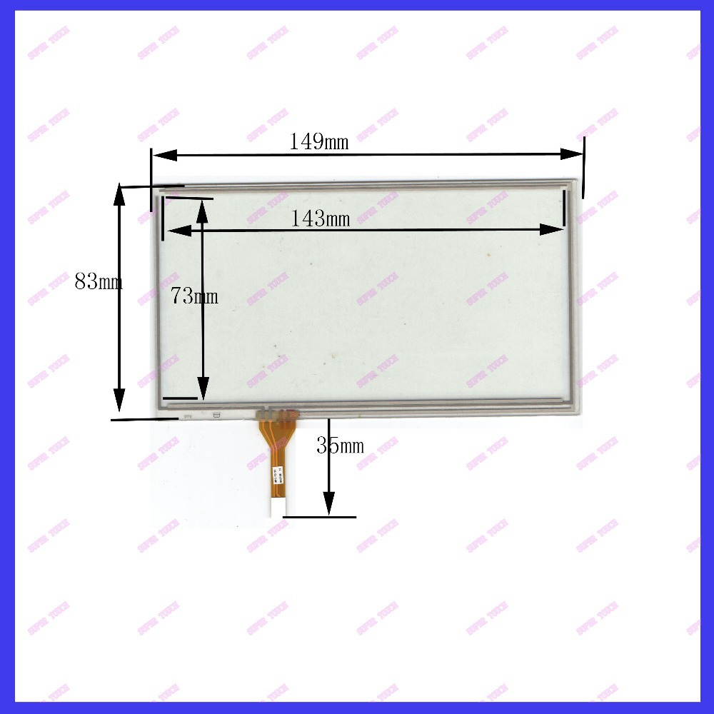 POST 6 inch 4-wire resistive touch panel for Car DVD, 149*83 GPS Navigator screen(China (Mainland))