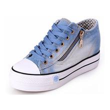 Shoes Woman Fashion lace up casual canvas shoes women platform spring women denim shoes with zipper p1D11