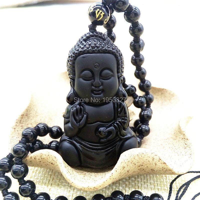 High Quality Jade Necklace Pendant Beads Curtain Natural Obsidian Scrub Pendant Black Buddha Pendants Transhipped Buddha(China (Mainland))