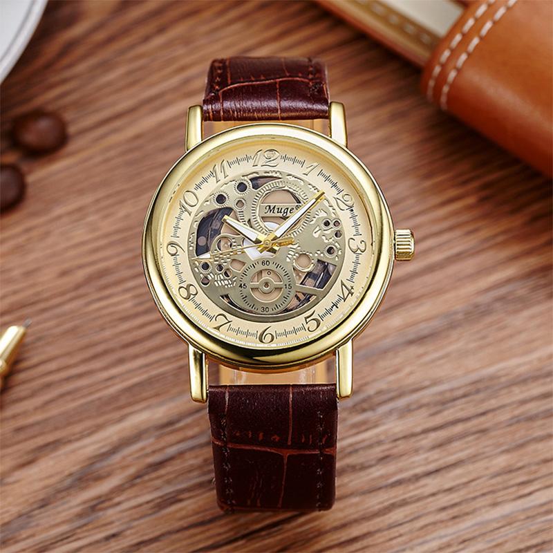 Skeleton Watches mechanical Business Mens fashion quartz watch Male Clock Wrist Watch Relogio Masculino<br><br>Aliexpress