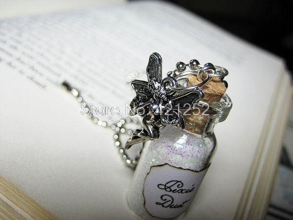 12pcs/lot Pixie Dust Necklace Fairy Dust Charm Pixies Fairy Tale Glitter Pendant silver tone(China (Mainland))
