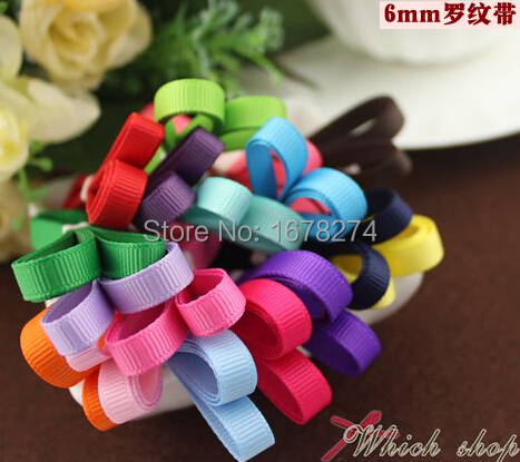 Free shipping 6mm 10 color mix Grosgrain Ribbon ribbon