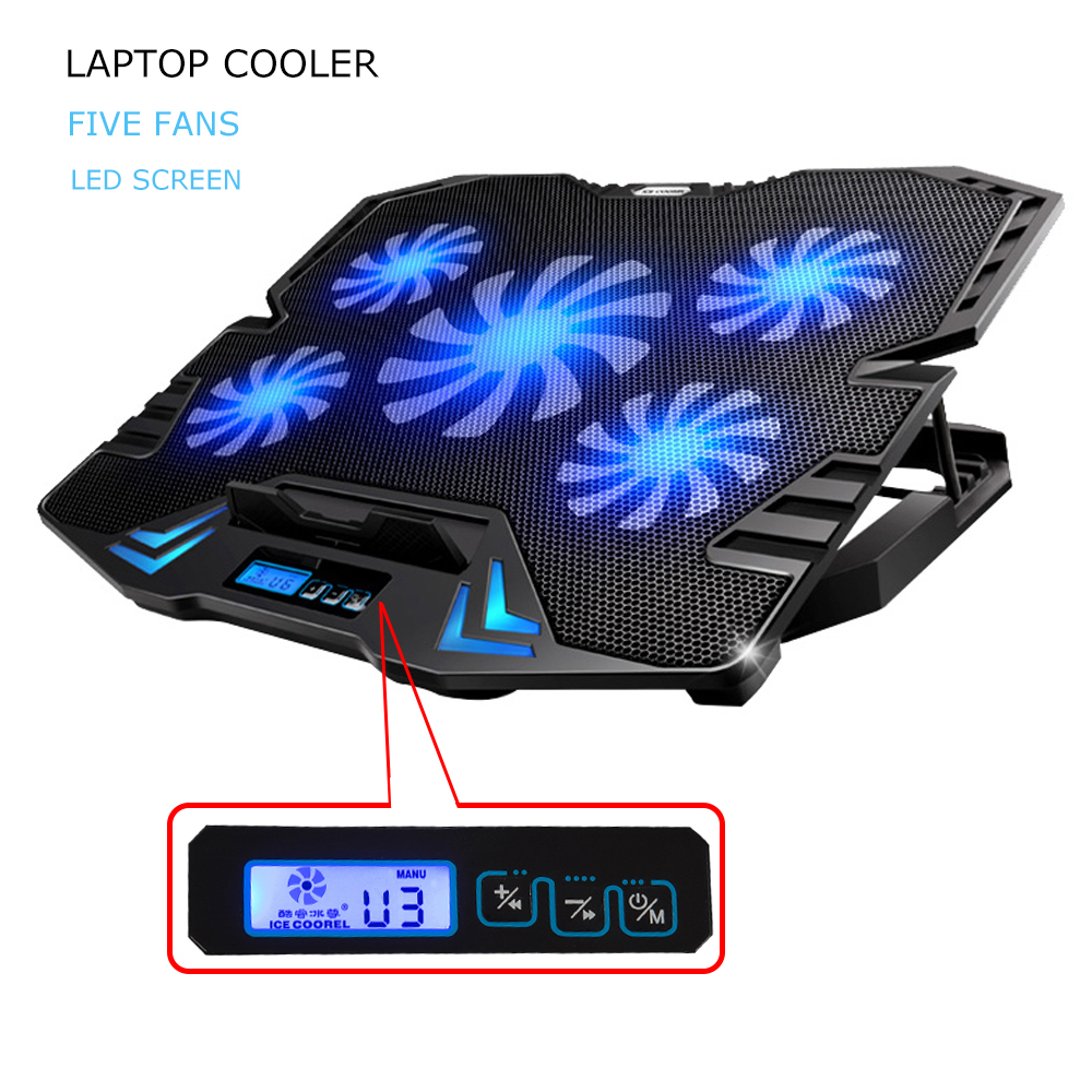 12-15.6 inch laptop Cooling Pad Laptop cooler USB Fan with 5 cooling Fans Light Notebook Stand and Quiet Fixture for laptop(China (Mainland))