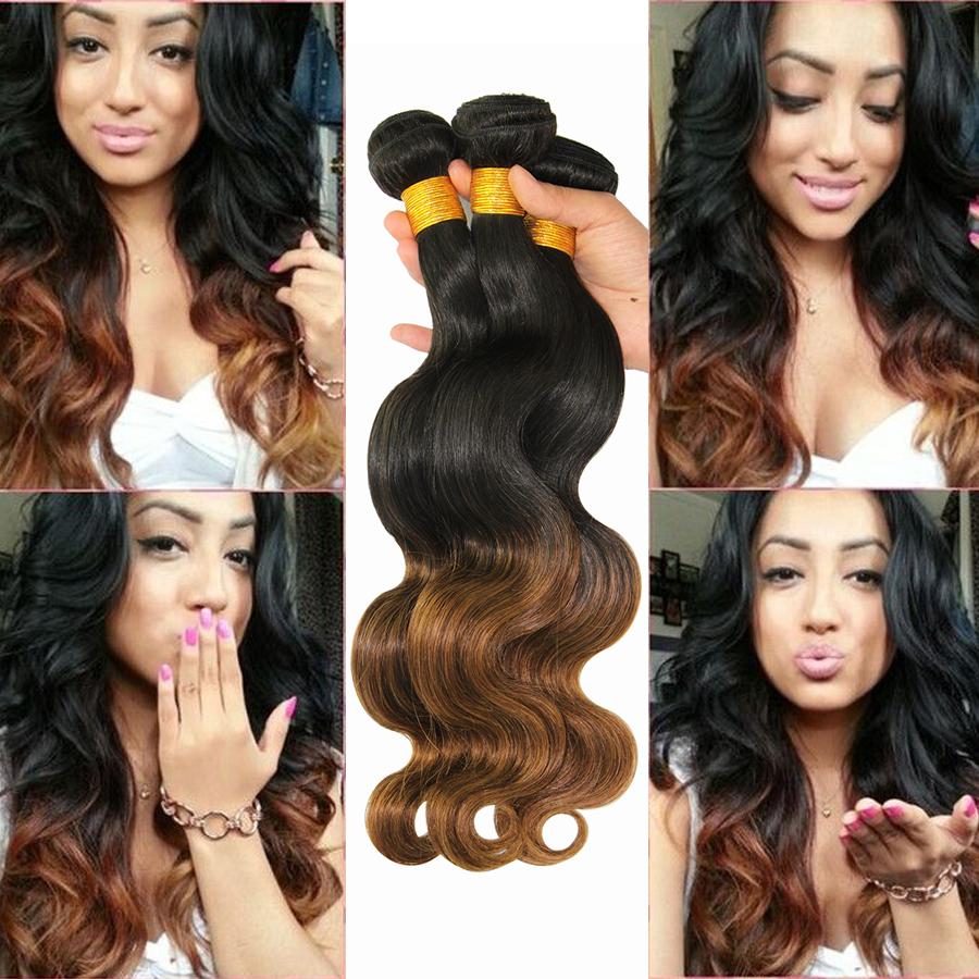 Grade 7A Ombre Peruvian Virgin Hair Body Wave 3 Pcs Lot 100% Unprocessed  Bundles Peruvian Ombre Human Hair Weave<br><br>Aliexpress